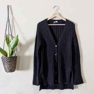 ANTHROPOLOGIE Black V-Neck Ribbed Cardigan Sweater